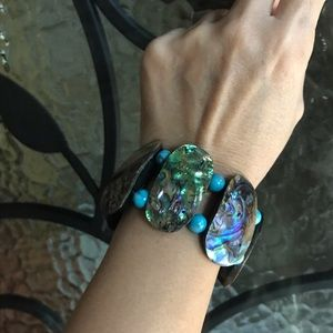 Handmade Mother of Pearl with Turquoise Bracelet